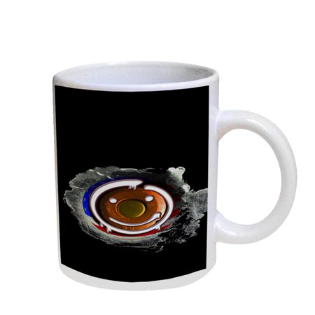 - KuzmarK Coffee Cup Mug Pearl Iridescent White - Happy Face American Flag Bullet