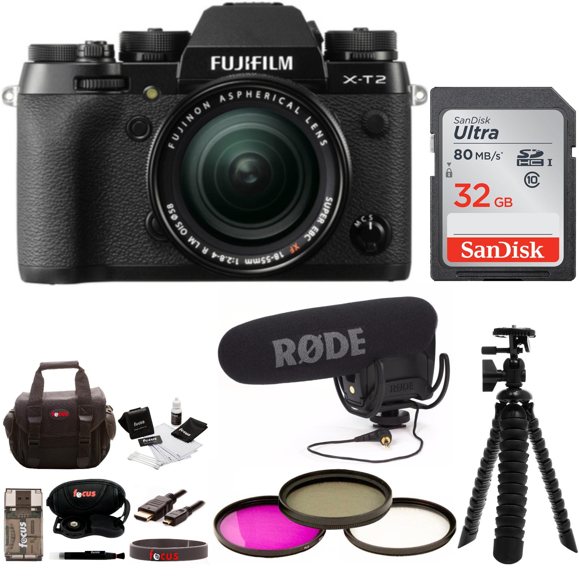 FujiFilm X-T2 Mirrorless Camera w 18-55mm Lens w Rode Mic Video Kit , Focus 32GB by Fujifilm
