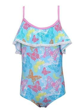 Sun Emporium Little Girls Pink Butterfly Garden Cut-Out One Piece Swimsuit