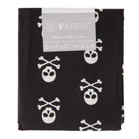 Patterned Quilting Fabric Fat Quarters: Skulls & Crossbones, 18 x 21 in
