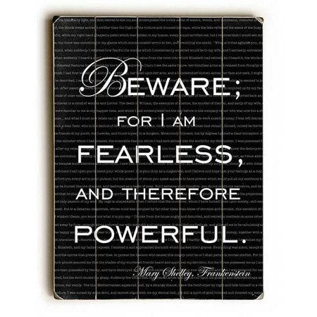 Artehouse Decorative Wood Sign  I Am Fearless  Mary Shelley Quote By Artist Sandra Berney  18  X 24   Planked Wood
