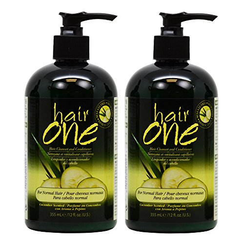 "Hair One Hair Cleanser and Conditioner for Normal Hair with Cucumber Scented 355ml / 12oz ""Pack of 2"""
