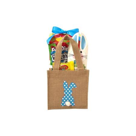 Burlap Bunny Easter Basket Blue