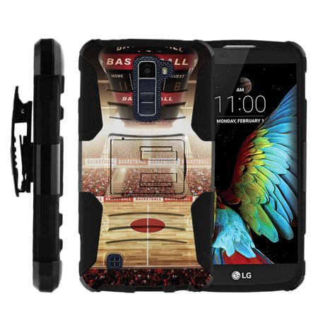 Stadium Stand (LG K10 and LG Premier LTE Miniturtle® Clip Armor Dual Layer Case Rugged Exterior with Built in Kickstand + Holster - Baller)