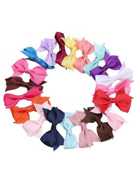 20 Colors Hair Clips  Alligator Clips Girls Bow Ribbon Kids Sides Accessories HDPML