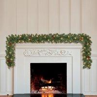Holiday Time Prelit Green Madison Pine Artificial Christmas Garland, 9 ft