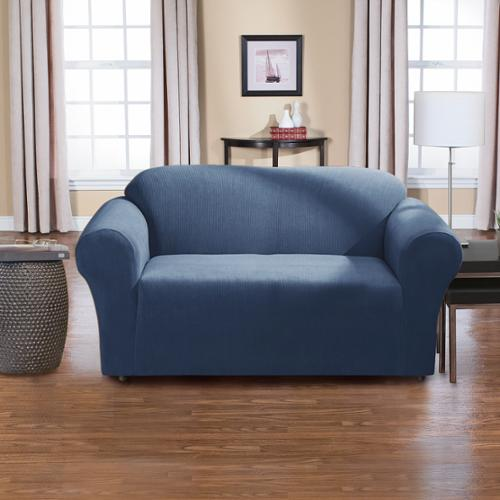 Dimples 1-piece Stretch Loveseat Slipcover Navy