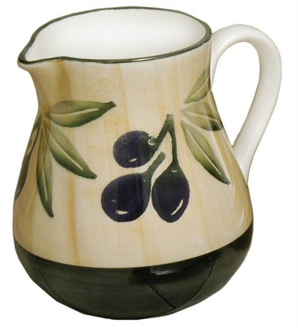 Hand Painted Olive Design Water Pitcher