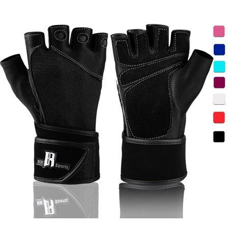 Weight Lifting Gloves With Wrist Wrap - Best Lifting Gloves - Premium Weights Lifting Gloves, Rowing Gloves, Biking Gloves, Training Gloves, Crossfit Gloves & Grip Gloves - Black,