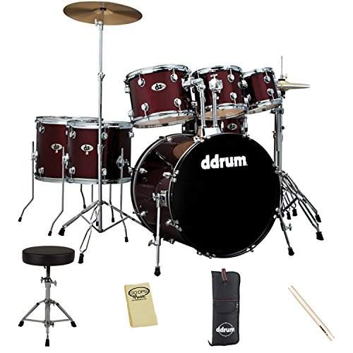 ddrum D2 Blood Red 7-Piece Drum Set Kit Includes: Throne, Cymbals, Drumsticks & Cloth by