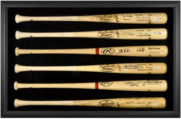 Baseball Bat Display Case with Black Frame for 6 Bats by Fanatics Authentic
