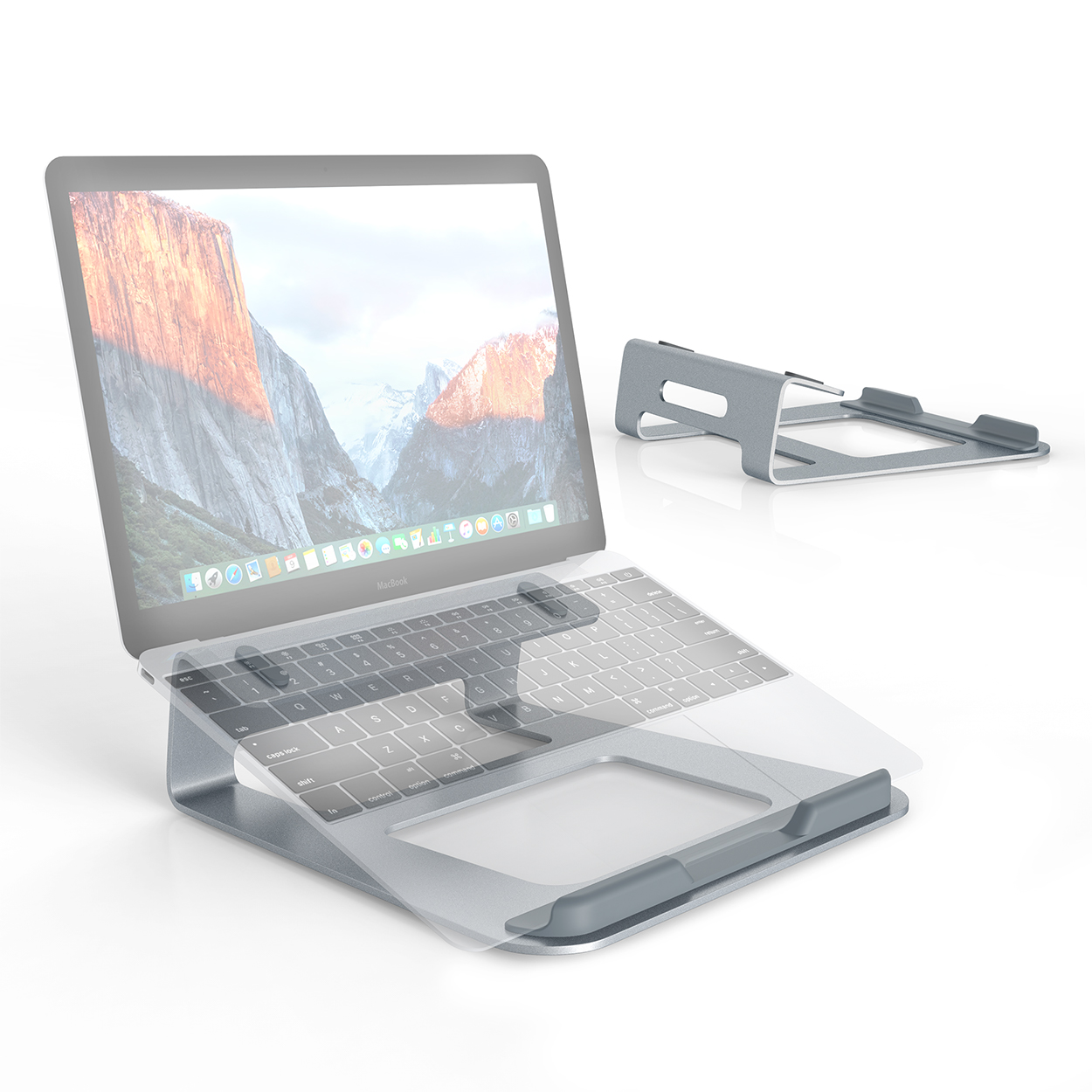 "SLYPNOS Aluminium Wedge Laptop Stand Cooling Ventilated Portable Tilted Elevated Laptop Riser with Non-Slip Pads and Front Lip for 11""-15.4"" Laptop Notebook Tablet, Silver"