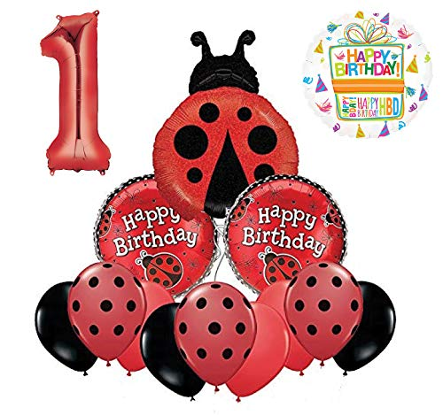 Mayflower Products Ladybug 1st Birthday Party Supplies Balloon Bouquet Decoration - Ladybug Birthday Party Supplies