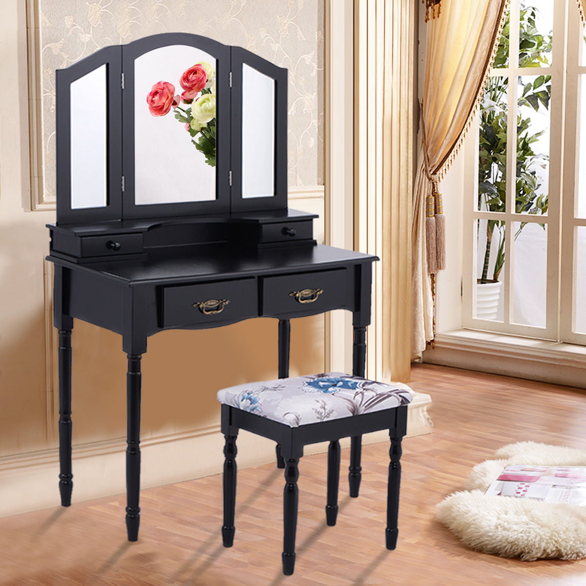 Costway Black Tri Folding Mirror Vanity Makeup Table Stool Set Home Furni W 4 Drawers by Costway