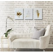 White and Gold Bedroom Decor - Canvas Wall Art for Living Room - 3 Panel Set 16'' x 12'' Each - Wall Art for Office