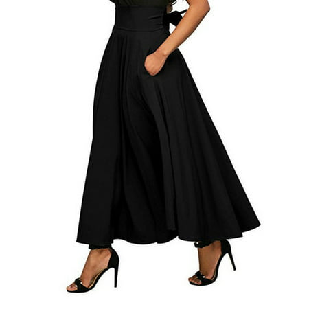 - Women High Waist Flared Pleated Long Dress Gypsy Maxi Skirt +Pockets 4 Sizes Black Size L