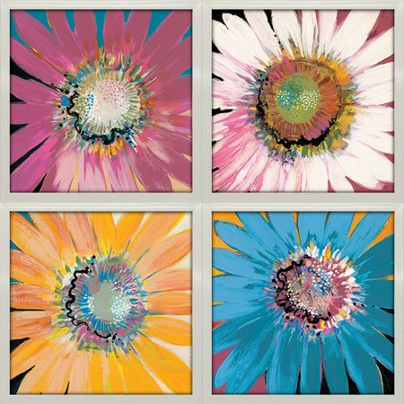 Star Creations 'Sunshine Flowers' by Leslie Bernsen 4 Piece Framed Acrylic Painting Print Set