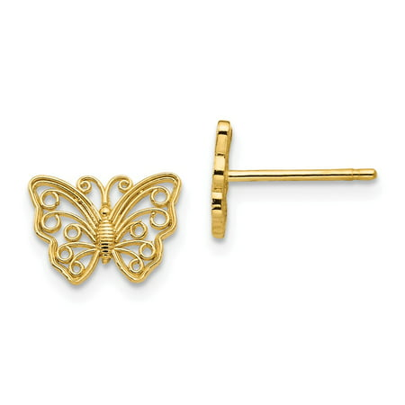 14k Yellow Gold Butterfly Post Stud Earrings for Women