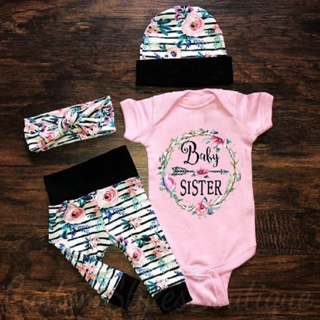 3Pcs Newborn Toddler Baby Girls Floral Tops Romper Pants Outfits Set Clothes (Desmond Miles Outfit)