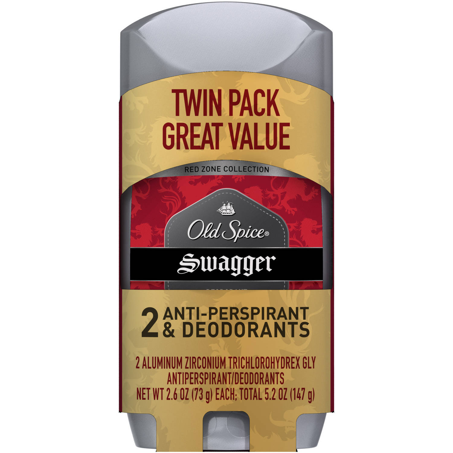 Old Spice Red Zone Collection Swagger Invisible Solid Antiperspirant/Deodorant, 2.6 oz (Pack of 2)