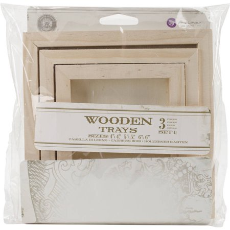 Relic & Artifacts Archival Case Wooden Trays, 3pk, Set 1 Square; 4