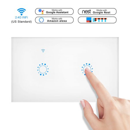 Smart Wall Switch Works with Alexas, WIFI Touch Panel Switch, Wireless Remote Control by Mobile APP From Anywhere, Timer Function, Supports Google Home, IFTTT, No Hub Required(2 Gang, Touch (Touch Wall Control)