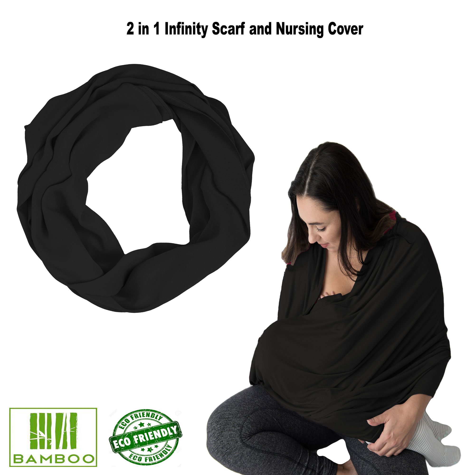 Kushies Nursing Cover Black Infinity Scarf for Breastfeeding Cover For Baby Boys or Girls