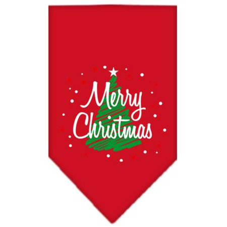 Scribble Merry Christmas Screen Print Bandana Red Large
