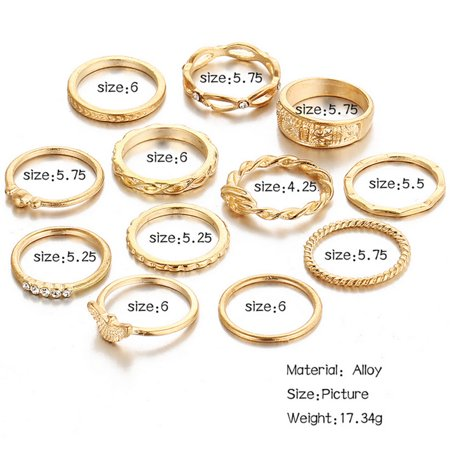 12pcs Knuckle Rings Set, Stylish Retro Carved Alloy Multiple Sizes Finger Rings Set for Women Girls, Gold - image 2 of 6