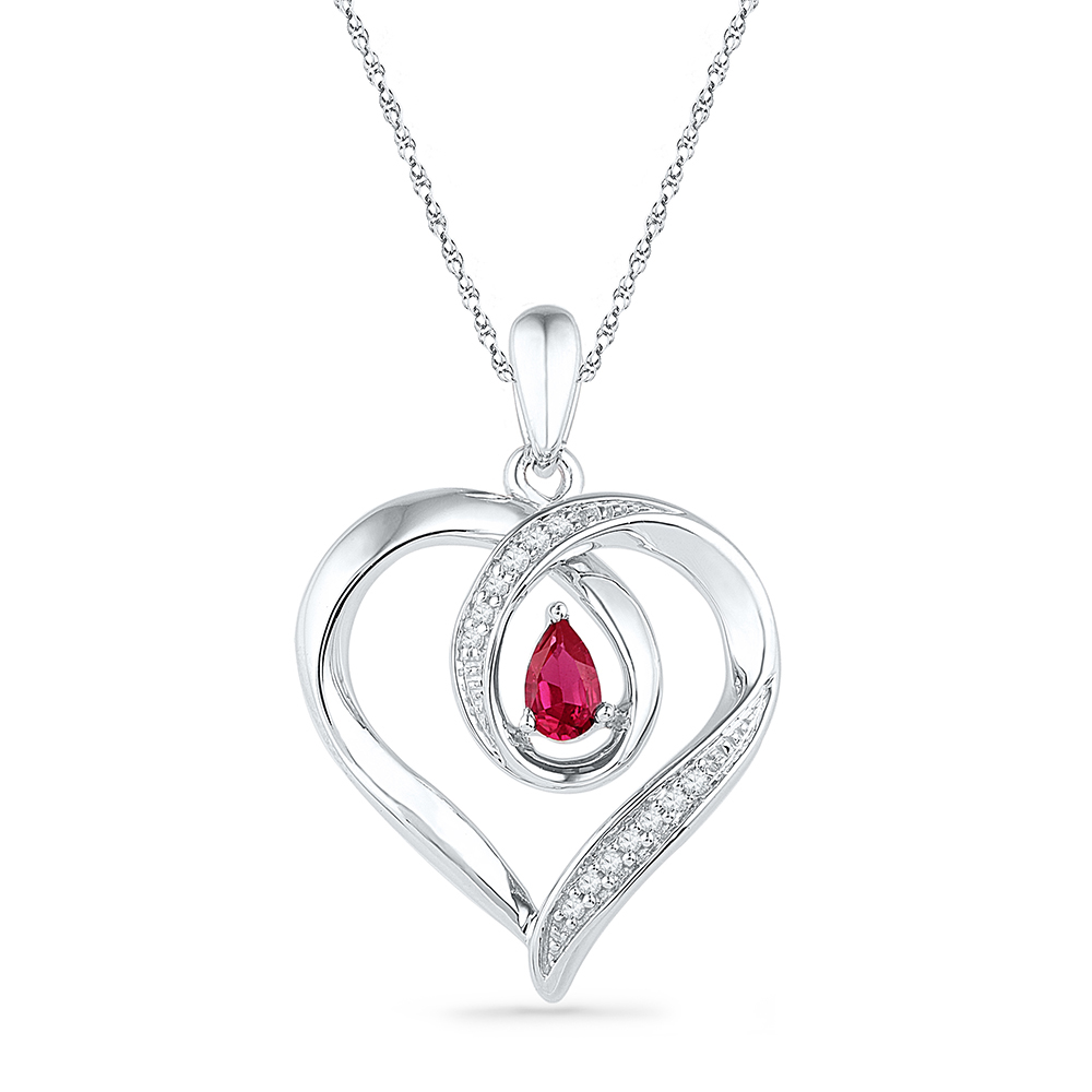10kt White Gold Womens Pear Lab-Created Ruby Diamond Heart Pendant 1 20 Cttw by GND