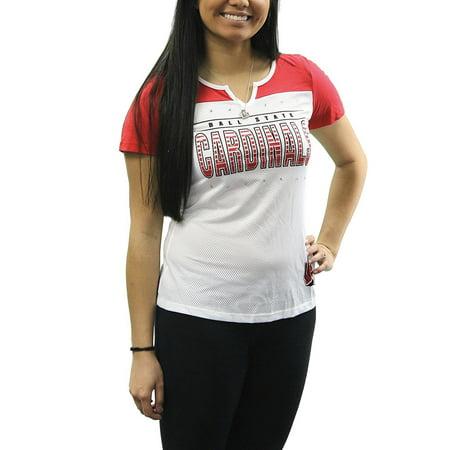 Creative Apparel Women's NCAA Ball State Cardinals Sporty Text Slot Neck T-Shirt Tee - Nc State Apparel