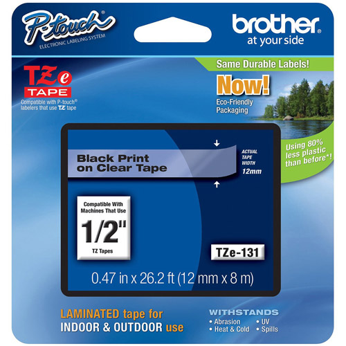 """Brother TZE131 1/2"""" Labeling Tape, Black on Clear"""