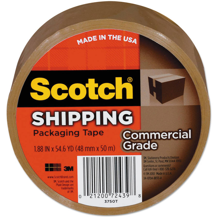"Scotch 3750 Commercial Grade Packaging Tape, 1.88"" x 54.6 yds, 3"" Core, Tan"
