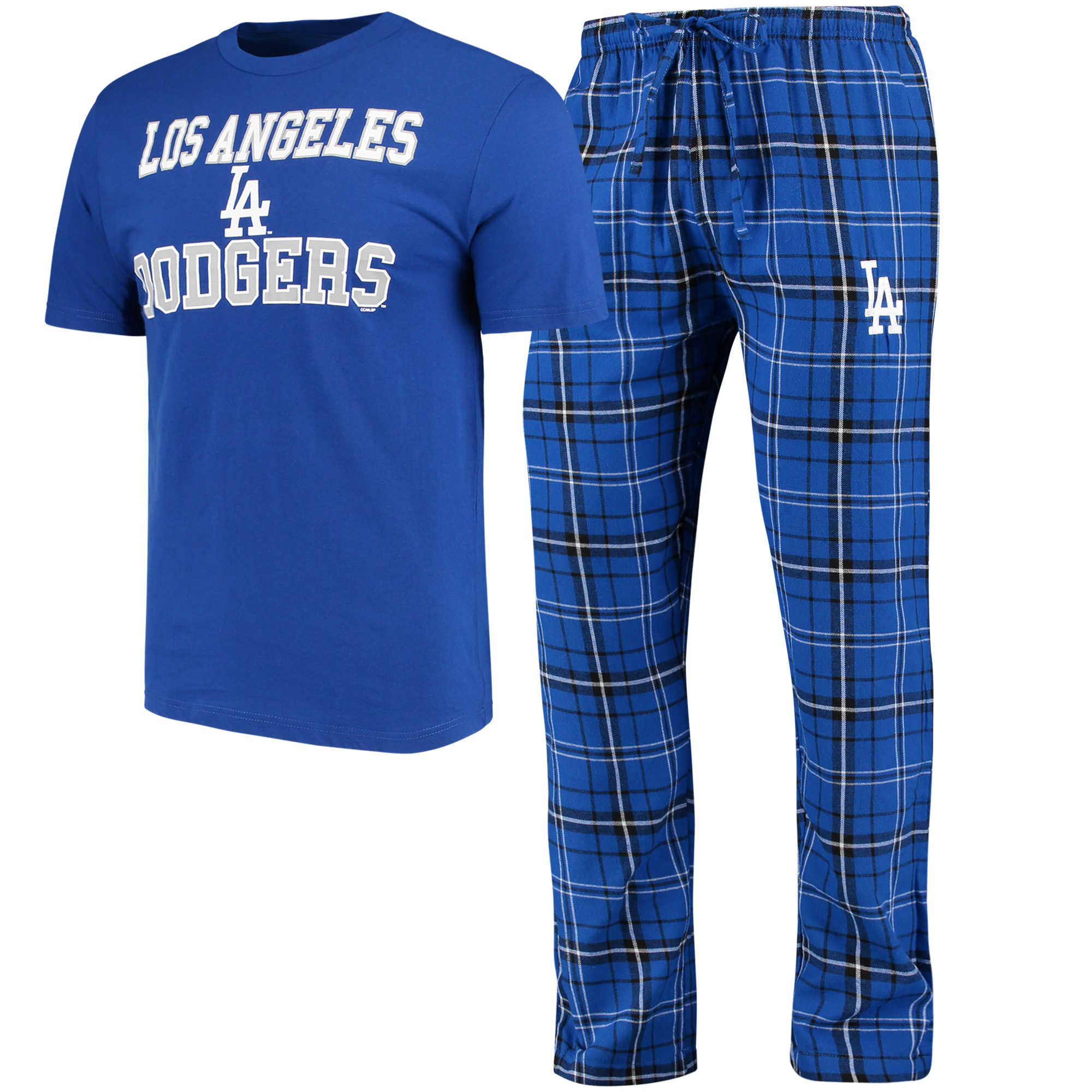Los Angeles Dodgers Concepts Sport Halftime Pants and T-Shirt Set - Royal/Black
