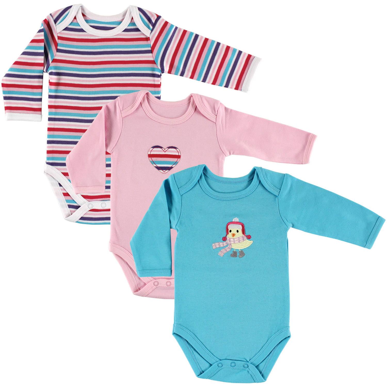 Hudson Baby Newborn Baby Girls Long Sleeve Bodysuit 3-Pack