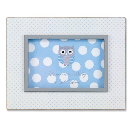 4x6 Distressed White Wood Frame With Blue Polka Dot Pattern ...