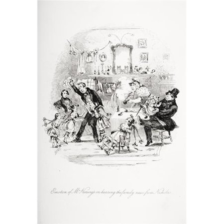 Emotion of Mrkenwigs on Hearing the Family News From Nicholas Illustration From the Charles Dickens Novel Nicholas Nic 1 Poster Print, 12 x 18 - image 1 de 1