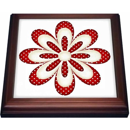 3dRose Cute Red and White Polka Dot Flower Illustration, Trivet with Ceramic Tile, 8 by -