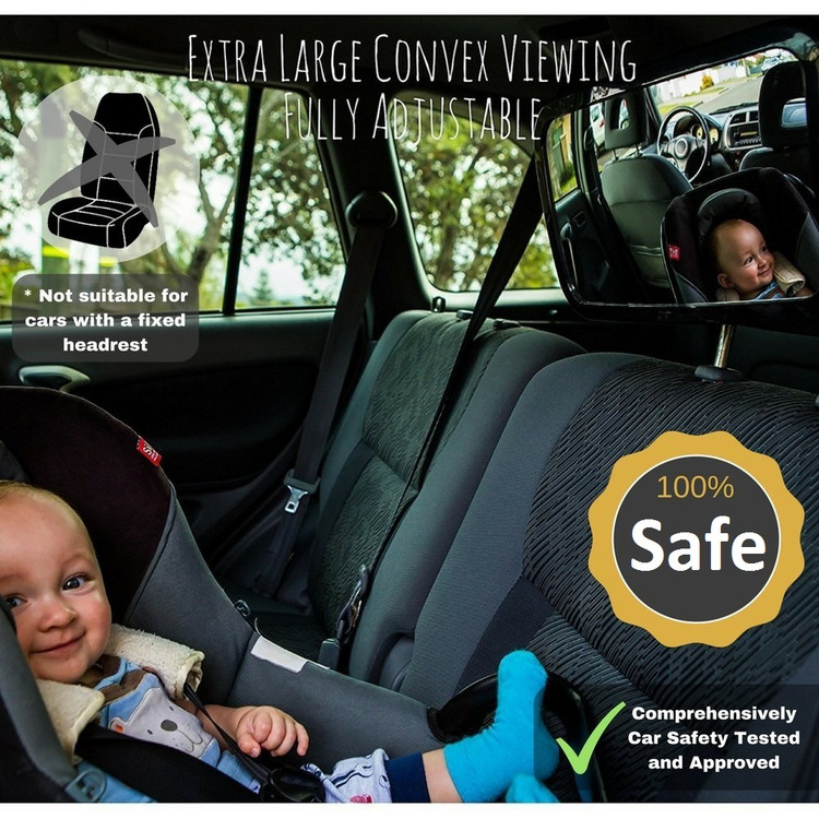 Car Backseat Baby Mirror with Adjustable Pivot Rear Facing Infant Mirror Dual Secure Straps Safty Carseat Accessory