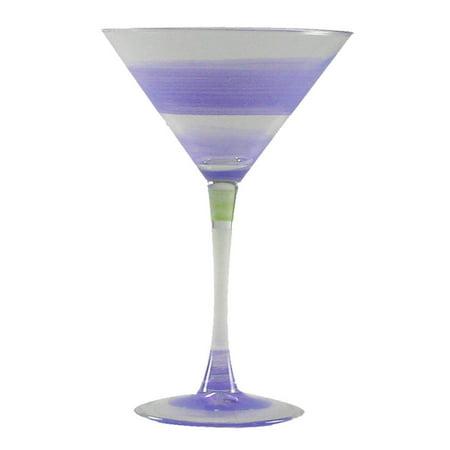 Set of 2 Purple Retro Stripe Hand Painted Martini Drinking Glasses - 7.5 - Purple Martini Glasses