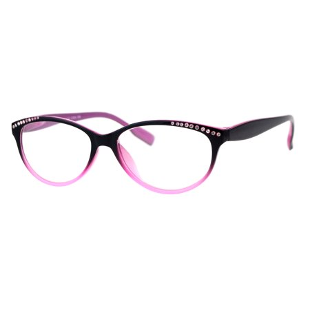 Womens Rhinestone Narrow Oval Plastic Cat Eye Reading Glasses Black Pink (Best Cat Eye Glasses)