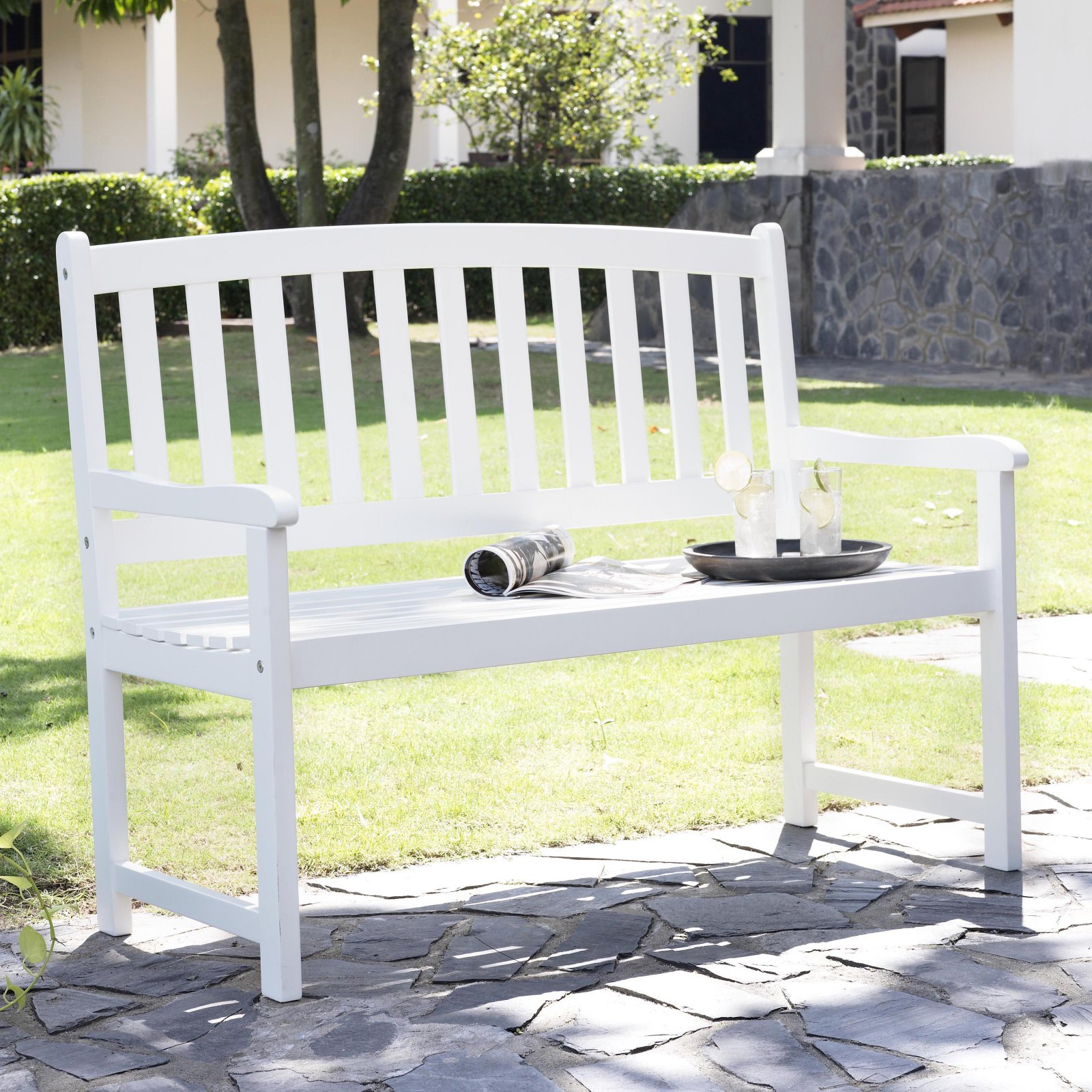 Coral Coast Pleasant Bay Curved Slat-Back Outdoor Wood Bench White by Nghia Son Wooden Furniture Co