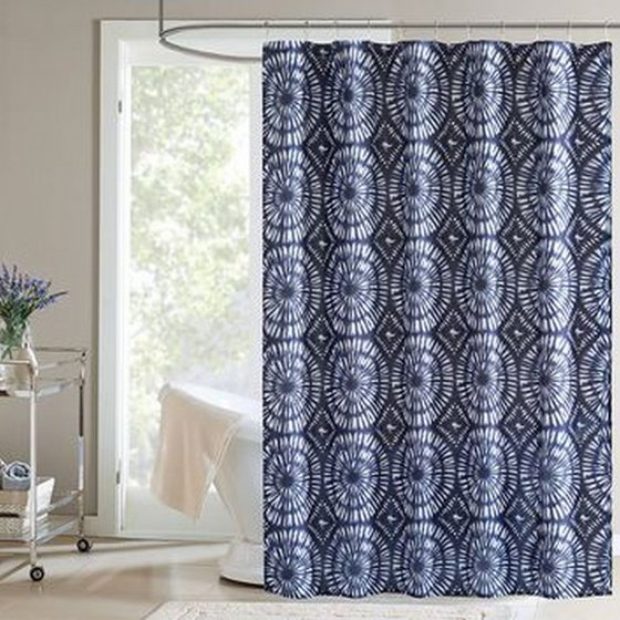 home classics dark blue surf indigo fabric shower curtain bath decor. Black Bedroom Furniture Sets. Home Design Ideas