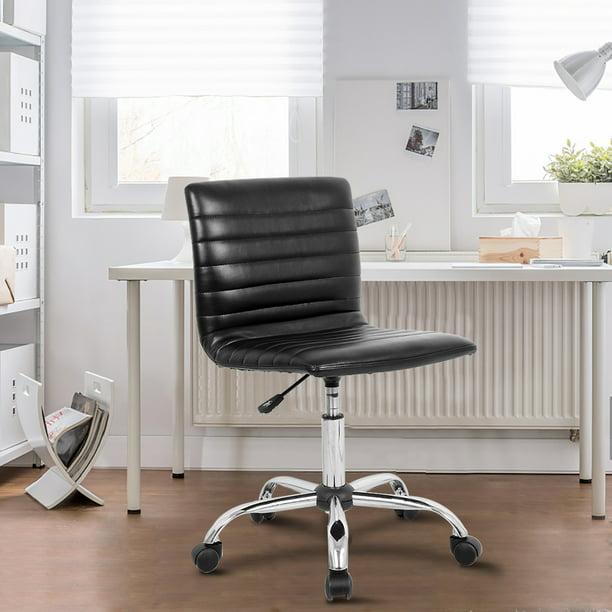 Modern Adjustable Low Back Armless Ribbed Task Desk Chair, Black, BIFMA Certified