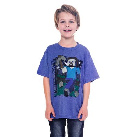 Minecraft Video Game Steve Youth Boys Blue T Shirt