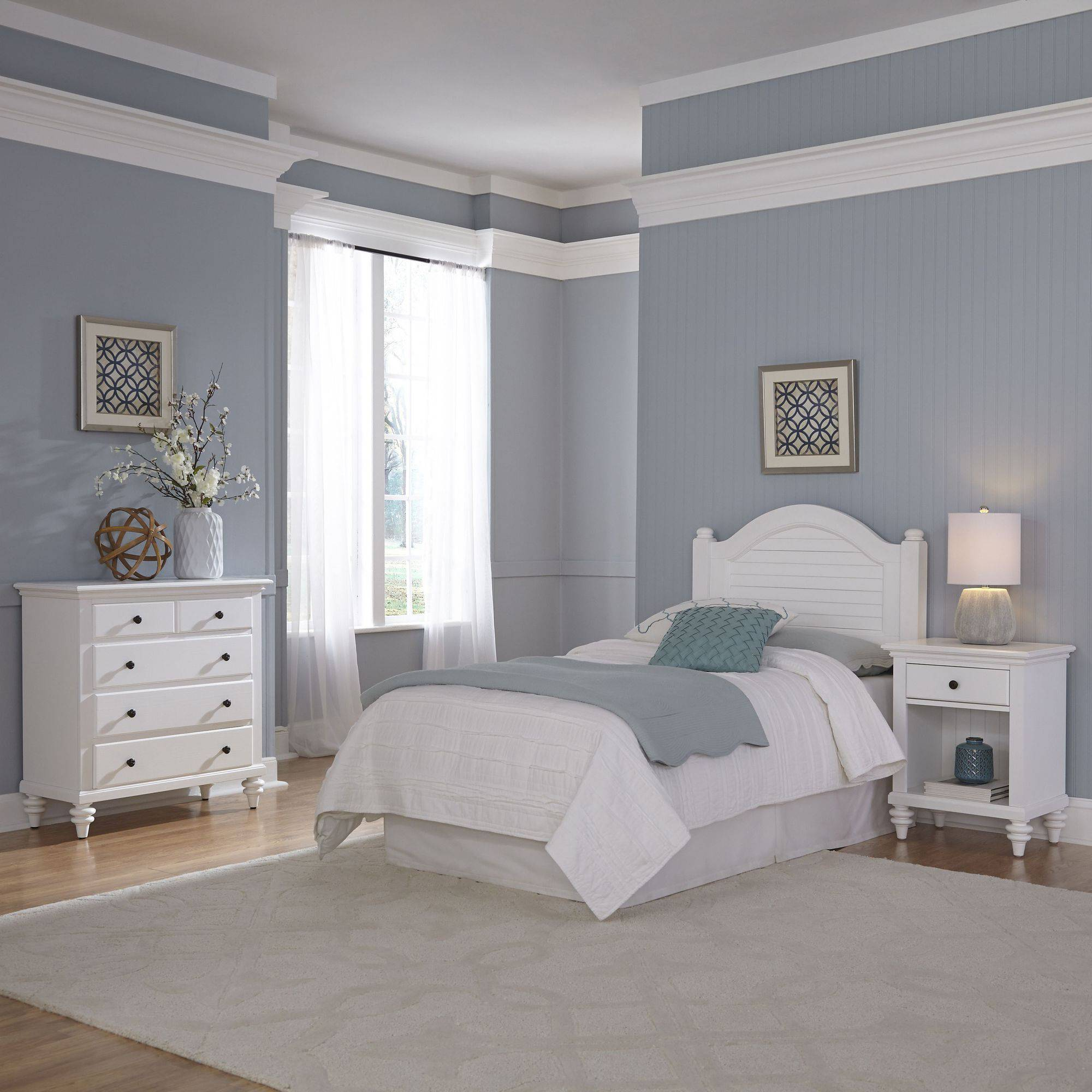 Home Styles Furniture Bermuda White Twin Headboard, Night Stand and Chest