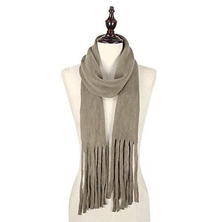 Taupe Tassel - StylesILove Trendy Knit Womens Skinny Scarf with Chunky Tassels (One Size Fits All, Taupe)