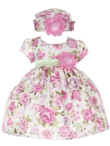 Baby Girls Lavender Jacquard Floral Printed Adorned Hat Easter Dress 24M