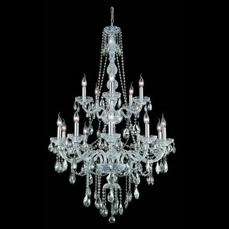 7915 Verona Collection Chandelier D:33in H:52in Lt:15 Chrome Finish (Swarovski Elements Crystals)