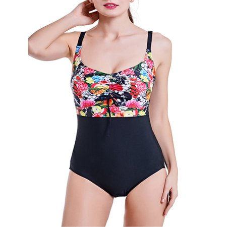 3670ac9059 SAYFUT - SAYFUT Women s Push-up Padded One-Piece Swimsuit Vintage Printed  Bikini Beachwear Open Back Swimwear Bathing Suits - Walmart.com